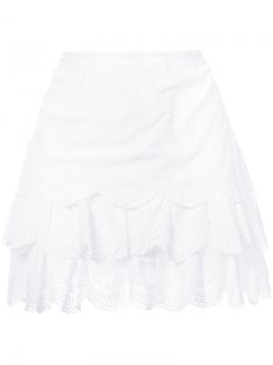 Многослойная юбка с английской вышивкой Ulla Johnson. Цвет: белый