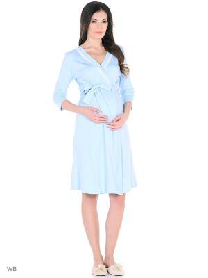Халат женский для беременных FEST. Цвет: голубой, белый