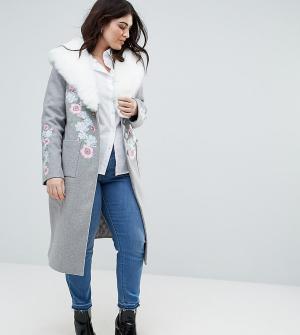 Dolly & Delicious Plus Пальто-бушлат в стиле оверсайз с вышивкой и пушистым воротником. Цвет: серый