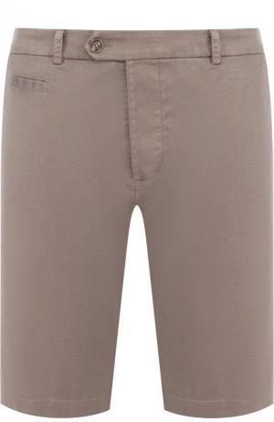Хлопковые шорты с карманами Capobianco. Цвет: светло-коричневый