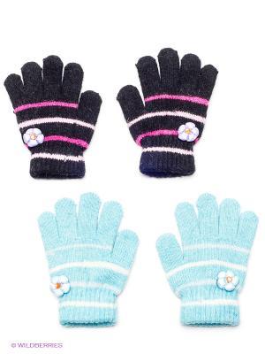 Перчатки, 2 пары FOMAS. Цвет: черный, бирюзовый