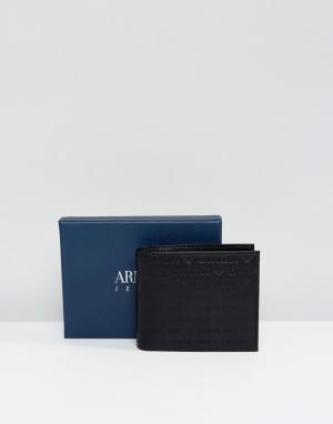 Armani Jeans Черный кожаный кошелек с тисненым логотипом. Цвет: черный