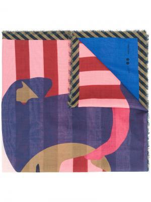 Dog patterned scarf Odeeh. Цвет: многоцветный