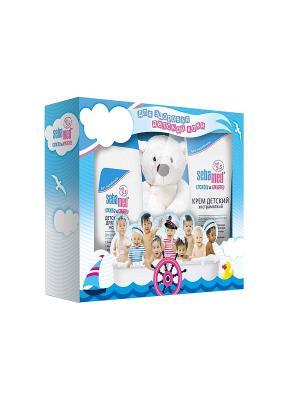 Подарочный набор для детей (Гель купания, Крем экстрамягкий, мягкая игрушка медвежонок ) Sebamed. Цвет: прозрачный