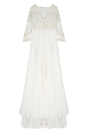 Платье с вышивкой Natalia Valevskaya. Цвет: молочный