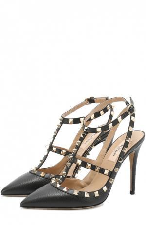 Кожаные туфли Rockstud с ремешками Valentino. Цвет: черный