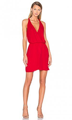 Платье с запахом спереди wrap front WAYF. Цвет: красный