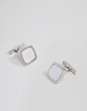 Ted Baker Серебристые запонки с полудрагоценными камнями Dedlift. Цвет: серебряный