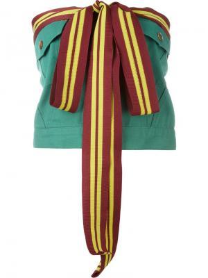 Топ с контрастными завязками Jean Paul Gaultier Vintage. Цвет: зелёный