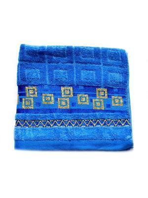 Полотенце Золотой квадрат 50х90 La Pastel. Цвет: синий