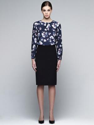 Блузка PAOLA MORENA. Цвет: темно-синий, синий, белый