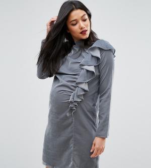 ASOS Maternity Бархатное платье для беременных с оборкой спереди. Цвет: синий