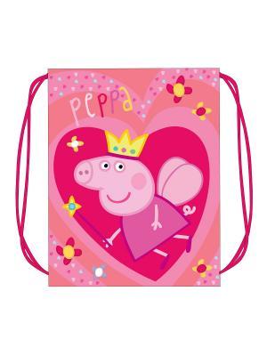 Мешок для обуви Свинка Пеппа Королева Peppa Pig. Цвет: розовый, желтый, красный