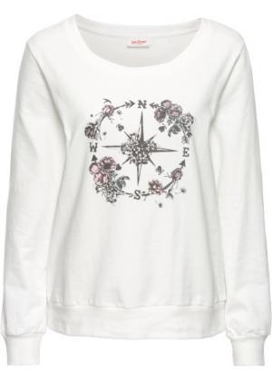 Свитшот с принтом и длинным рукавом (меланж цвета белой шерсти) bonprix. Цвет: меланж цвета белой шерсти