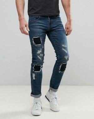 Always Rare Выбеленные джинсы скинни с нашивками Tyler. Цвет: синий