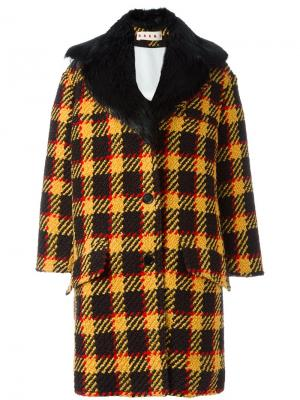 Однобортное пальто в клетку Marni. Цвет: чёрный