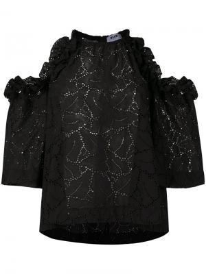 Блузка с вышивкой MSGM. Цвет: чёрный