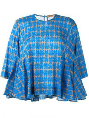 Расклешенная блузка с узором Peter Jensen. Цвет: синий