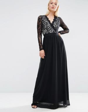Club L Платье макси с длинным рукавом и кружевом. Цвет: черный