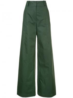 Широкие джинсы с завышенной талией Oscar de la Renta. Цвет: зелёный