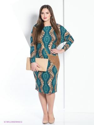 Платье МадаМ Т. Цвет: коричневый, бирюзовый