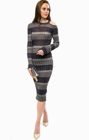 Платье в полоску с одним открытым плечом Liu Jo. Цвет: синий