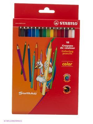 Набор цветных карандашей, 18 цв. Stabilo. Цвет: розовый, синий, красный