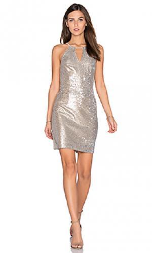 Платье с пайетками taylor Greylin. Цвет: металлический серебряный