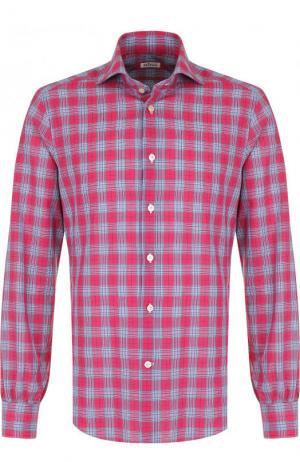 Хлопковая рубашка в клетку Kiton. Цвет: красный