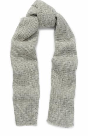Вязаный шарф из кашемира с металлизированной нитью Johnstons Of Elgin. Цвет: светло-серый