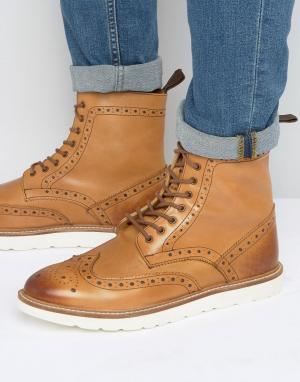 Frank Wright Ботинки-броги с контрастной подошвой. Цвет: рыжий