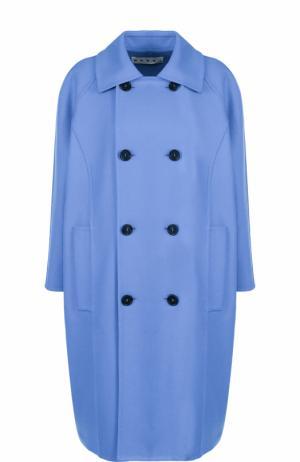 Двубортное пальто прямого кроя Marni. Цвет: синий