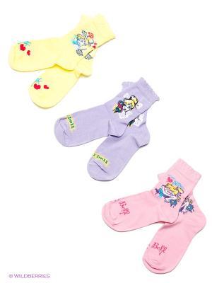 Носки 3 пары Master Socks. Цвет: розовый, желтый, сиреневый