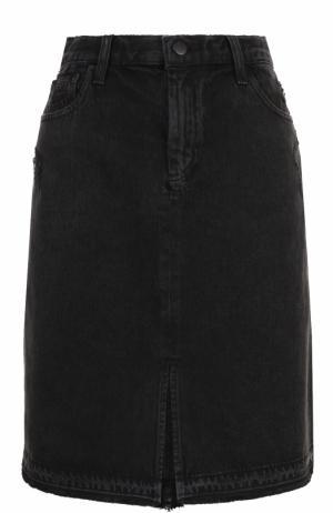 Джинсовая юбка-миди с потертостями J Brand. Цвет: серый