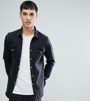ASOS Серая джинсовая рубашка скинни TALL. Цвет: серый