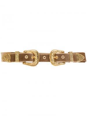 Ремень с двумя пряжками B-Low The Belt. Цвет: жёлтый и оранжевый