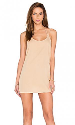 Мини платье с двойными шлейками BLQ BASIQ. Цвет: беж