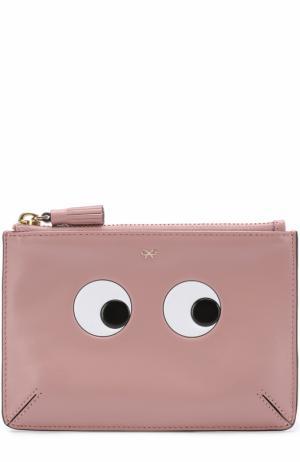 Кожаный кошелек Eyes на молнии Anya Hindmarch. Цвет: розовый