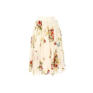 Юбка короткая расклешенная с цветочным рисунком RENE DERHY. Цвет: экрю
