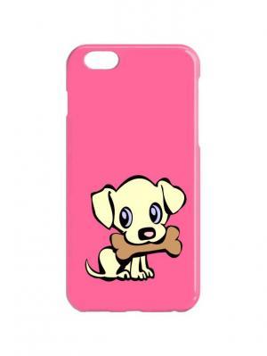 Чехол для iPhone 6Plus Пес с косточкой Chocopony. Цвет: розовый, бежевый, коричневый