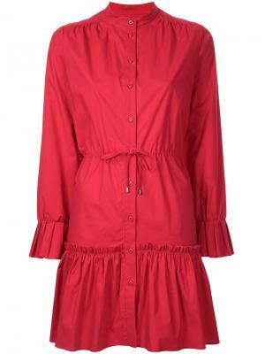 Присборенное платье шифт Saloni. Цвет: красный