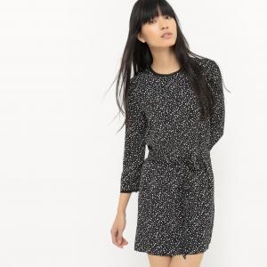 Платье короткое с рукавами 3/4 и рисунком SUNCOO. Цвет: черный