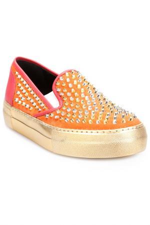 Слипоны Grey Mer. Цвет: orange, gold