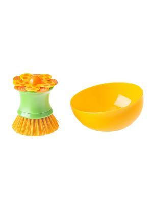 Щетка для посуды VIGAR. Цвет: зеленый, оранжевый