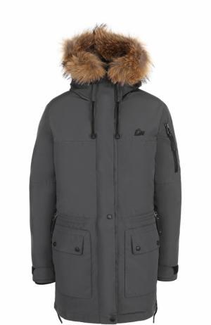 Пуховая парка с меховой отделкой капюшона Arctic Explorer. Цвет: серый