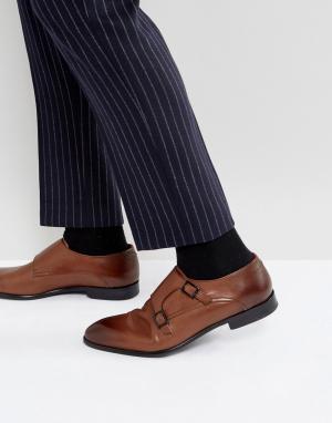HUGO Светло-коричневые кожаные монки Dressapp. Цвет: рыжий