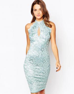 Amy Childs Кружевное платье миди Misha. Цвет: синий