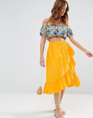 ASOS Хлопковая юбка миди с запахом и кромкой-оборкой. Цвет: желтый