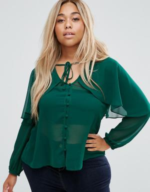 ASOS Curve Блузка с кейпом и завязкой. Цвет: зеленый