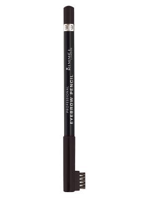 Карандаш д.бр. с щеточкой rimmel professional eyebrow pencil, тон 004. Цвет: коричневый